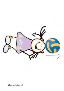 Bewegingskaart bal voor kleuters, bal met hoofd rollen, kleuteridee.nl, free printable moving cards for preschool.