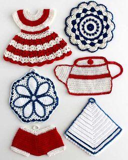 Vintage Americana Potholders by Maggie Weldon - crochet
