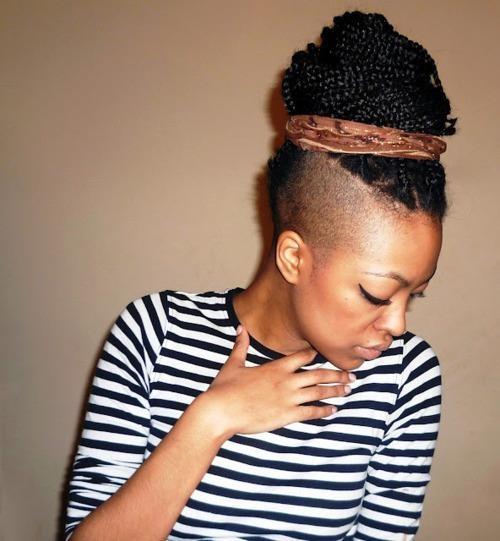 half shaved head striped nautical shirt