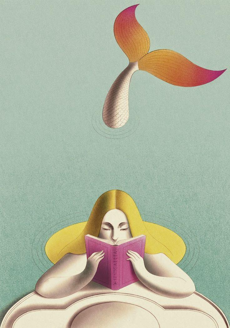 Cada mañana, antes de desayunar, la sirena lee un cuento (ilustración de Andrea Rivola) #biblioteques_UVEG