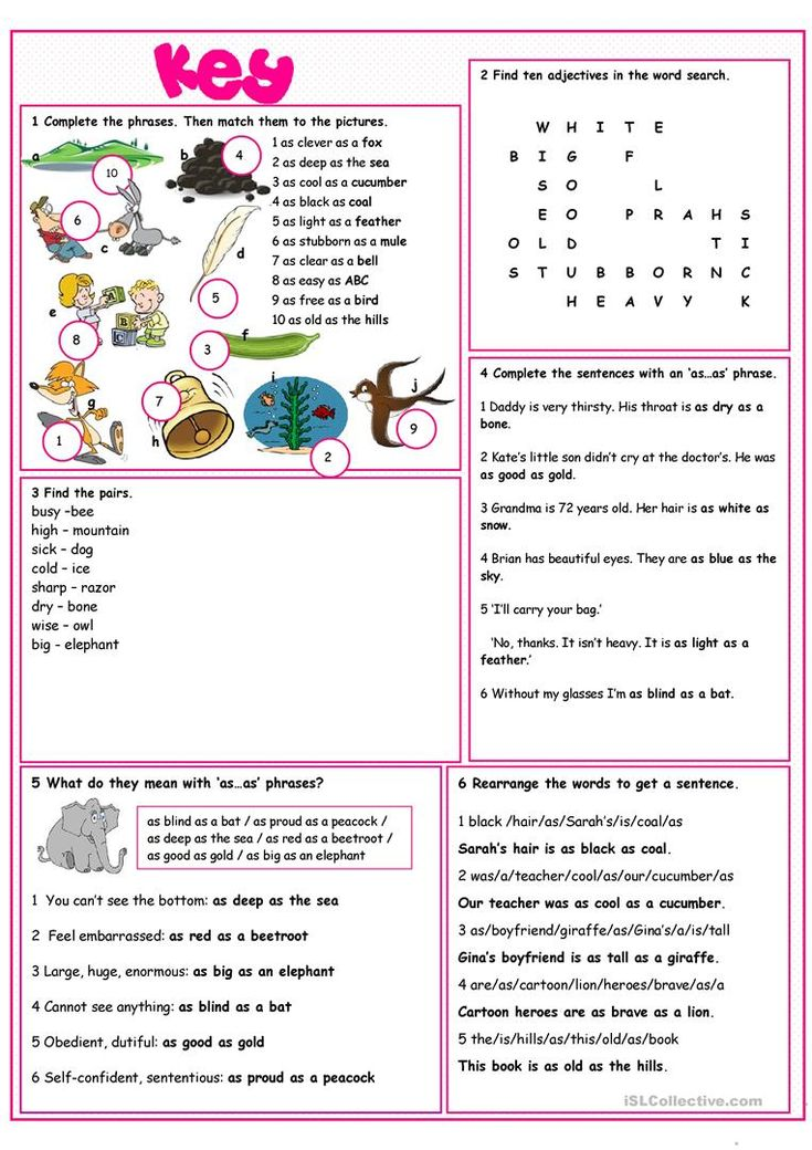 Similes Vocabulary Exercises With images   Vocabulary ...