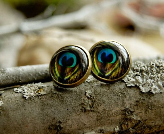 Peacock feather 12 mm stud earrings Glass dome by InviolaJewerly