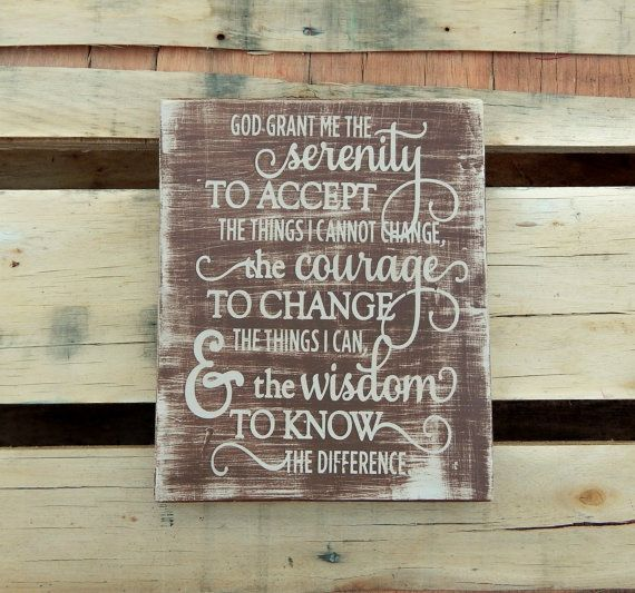 Serenity Prayer Wooden Sign Religious Rustic Psalms 23 Decor 12 Step Program Recovery Gift