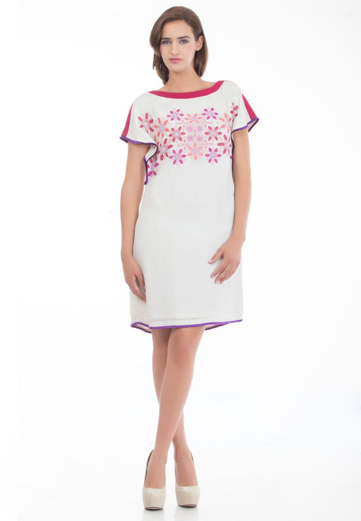 Boat Neck Shift Dress -> - Semi Georgette - Boat Neck Shift with Extended Sleeves - Patchwork Emboidery - Color Block & Fringe Detailling - Santoon Lining - Dry Clean  Order Now : http://www.rinkusobti.com/clothing/Boat-Neck-Shift-Dress