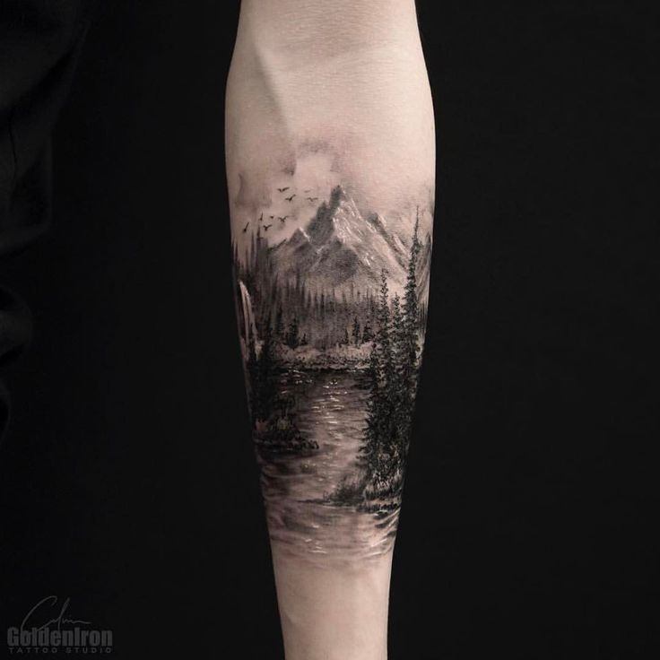 "1,258 Likes, 15 Comments - ⭕️Golden Iron Tattoo Studio⭕️ (@goldeniron_tattoos_toronto) on Instagram: ""Landscape by Calvin. @grxsy #goldenirontattoostudio #teamgoldeniron #thefineartfactory"""