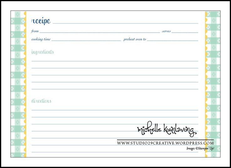 recipe card template printable