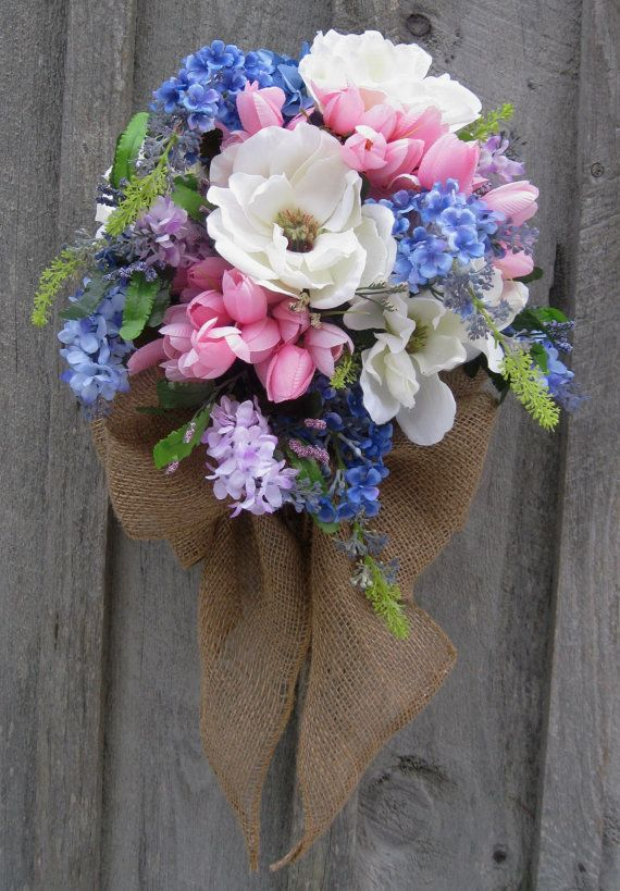 Floral Wall Bouquet Spring Wreath Easter by NewEnglandWreath, $99.00