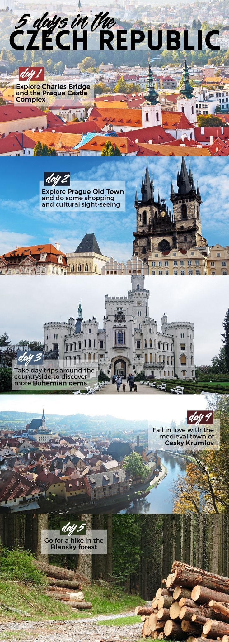 Here's what to do on your first visit to the Czech Republic: immerse in the fairytale cities of Prague and Cesky Krumlov, drive or hike around the countryside, and drink up the magic, atmosphere, and the world's greatest beer.: