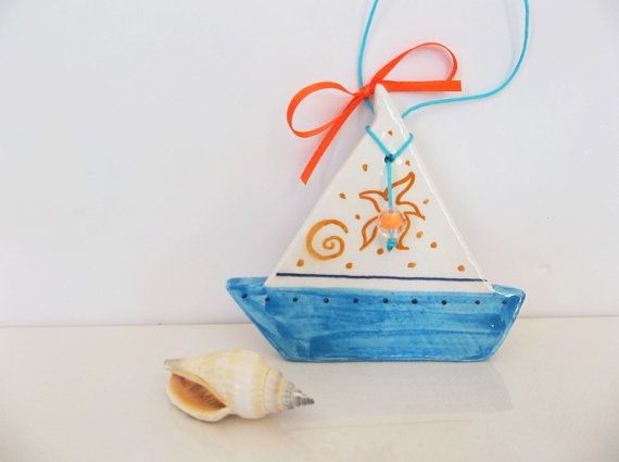 Blue Aegean ceramic boat wall decoration by IoannasVeryCHic,
