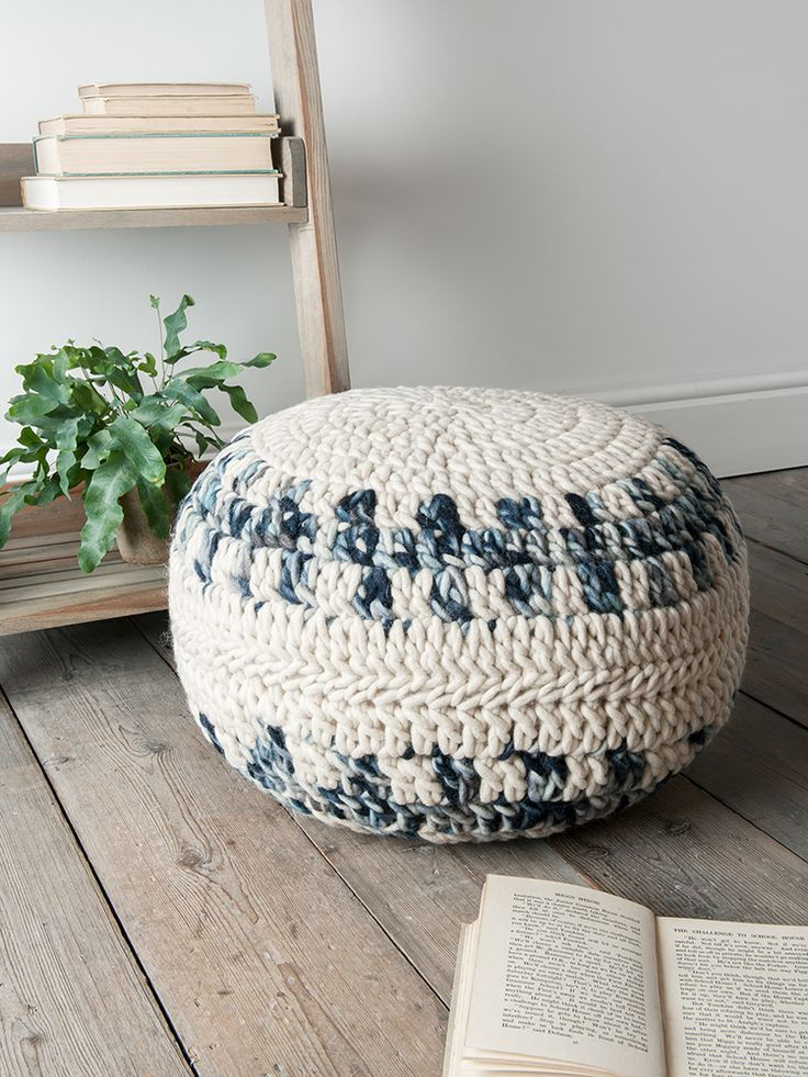 Carefully Crocheted From Natural Wool In Soft Shades Of Cream, Grey And  Blue, Our Round Chunky Knitted Pouf Adds Textures And Colour To Your Living  Space.