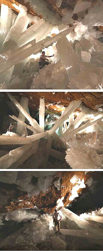 A real cave of giant crystals in Mexico.     Every self respecting geek is thinking about Superman and his Fortress of Solitude right about now. :D
