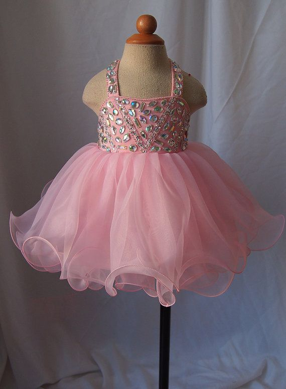 15 color avalible -- Infant/toddler/baby/children/kids glitz Girl's Pageant Dress for birthday,bridal,gift, 1~4T G128d
