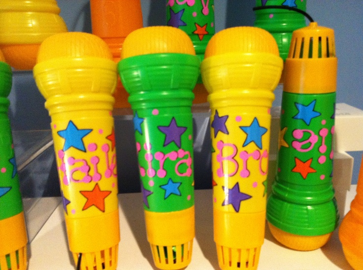 Personalized Echo Microphones - perfect party favor for music or rock star theme birthday party. $5.50, via Etsy.