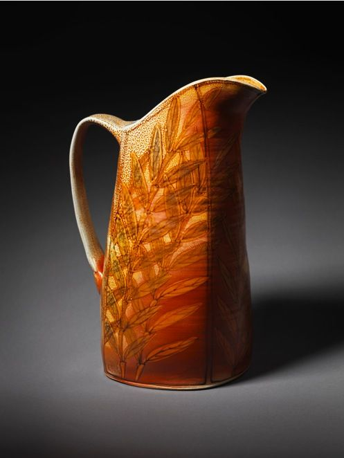 Cathi Jefferson's large pitcher. Cathi Jefferson was featured in the February 2015 issue of Ceramics Monthly. http://ceramicartsdaily.org/ceramics-monthly/ceramics-monthly-february-2015/