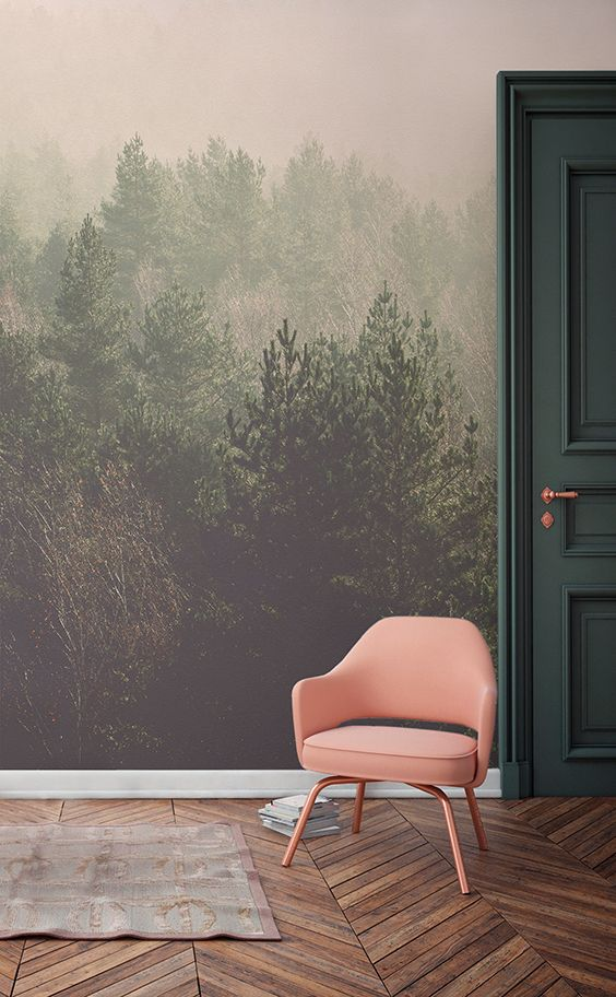 Daydream away overlooking these beautifully crisp treetops. This forest wallpaper mural brings together gentle greens with soft peachy hues. It's perfect for modern living spaces looking for a different way to dress the walls.