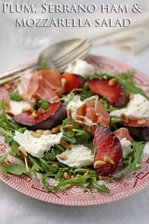 Plum, Serrano ham and mozzarella salad with pine nuts  |  cooksister.com #salad #plums #glutenfree