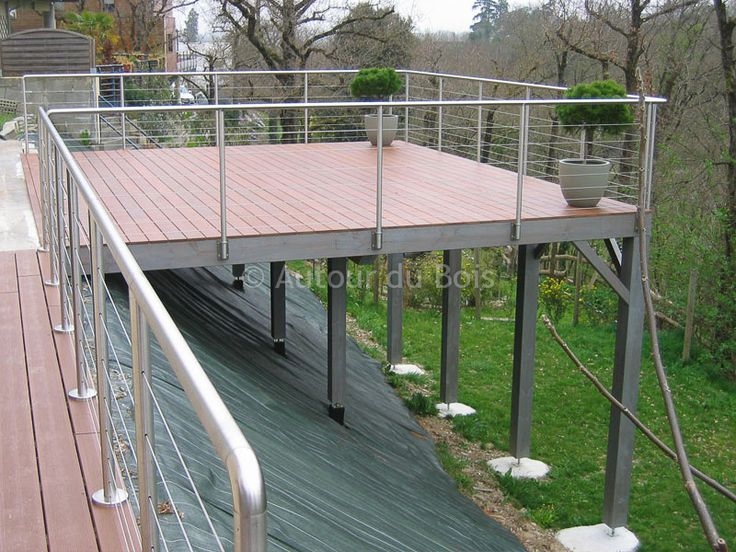 85 best Terrasses images on Pinterest Decks, Stairs and Wooden decks - poser terrasse bois sur herbe