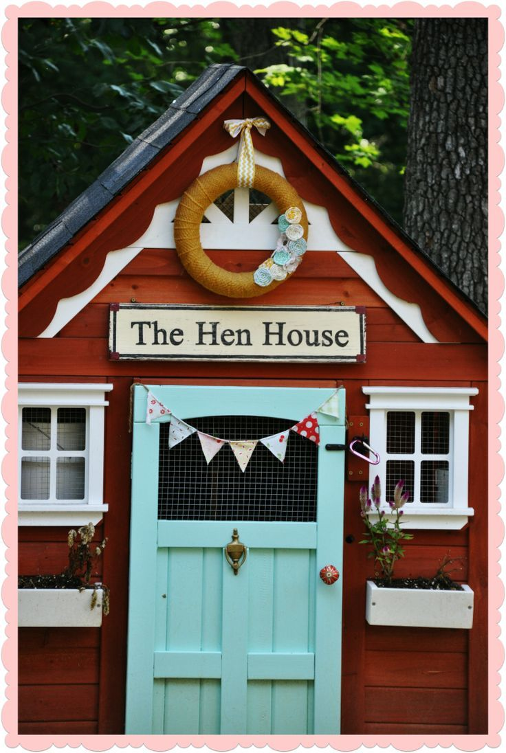 "Reminds me of when my youngest raised chickens and I painted the coop with a sign calling it his chicken farm. I love the idea of ""dressing"" up the chicken coop with cute decor."