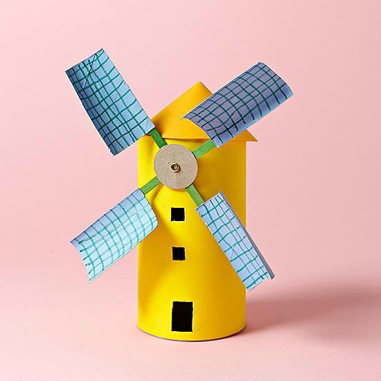 Save your toilet paper tubes, oatmeal containers, and popsicle sticks, then make this fun windmill with your kids. The blades actually spin!