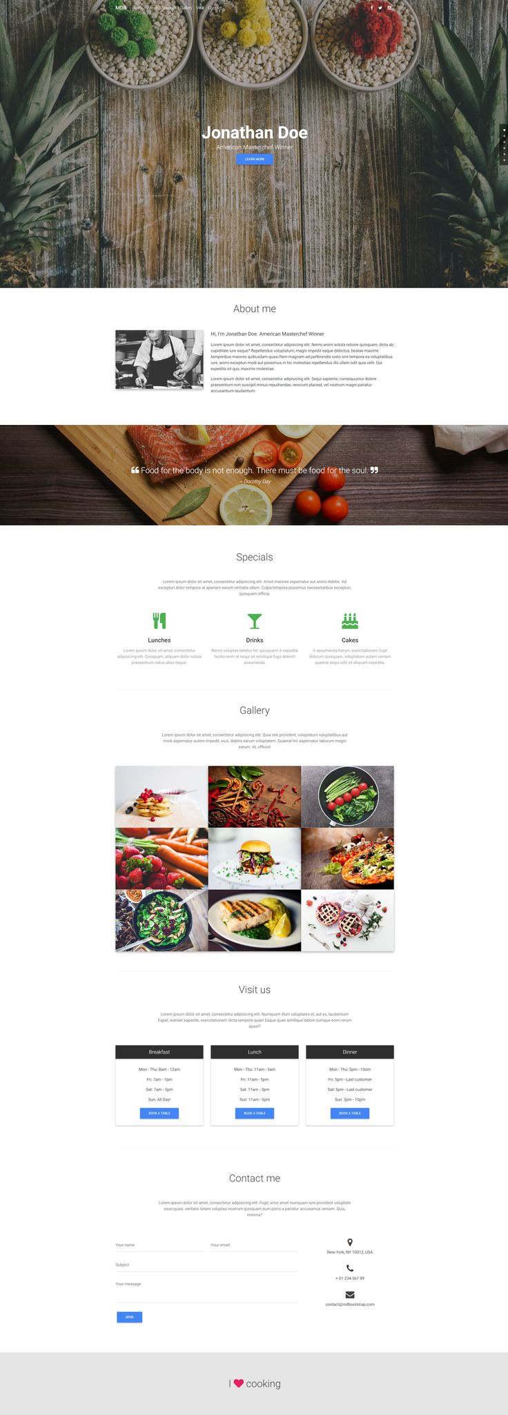 Fully responsive portfolio template, created for coulinary related businesses.
