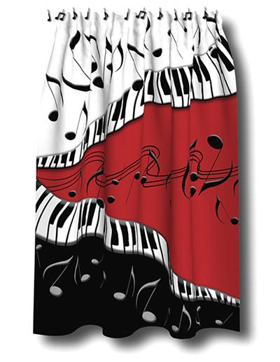 Piano Keys / Music Notes Shower Curtain - Theme Gifts and Gift Ideas for Piano Players. Bathroom Decor for Musicians.