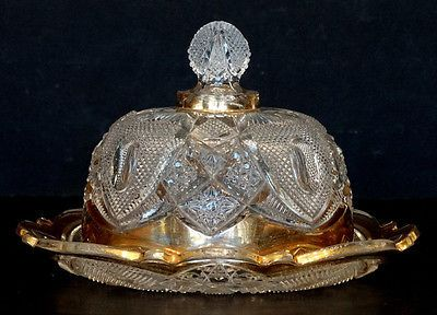 ANTIQUE Vintage US GLASS Victorian NEW HAMPSHIRE Clear BUTTER DISH & LID / EAPG