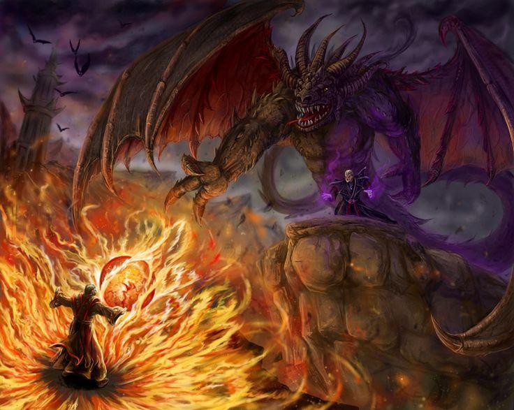 Xardas vs. Pyrokar by ~Ka7 on deviantART