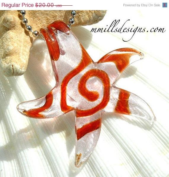 Orange Glass Star Necklace