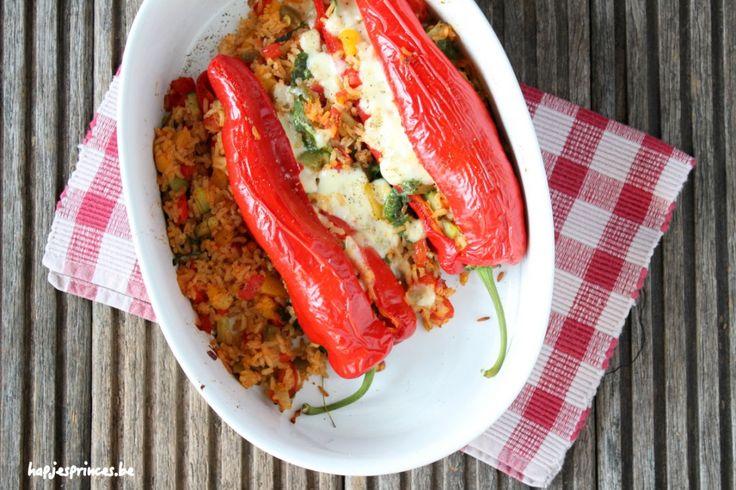 gevulde zoete paprika met rijst