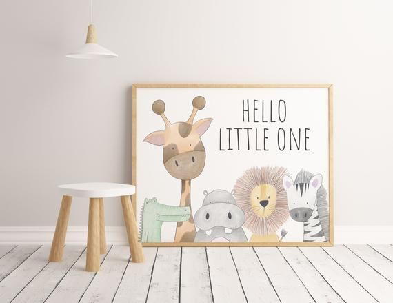 Hello Little One Nursery Print Safari Jungle Nursery Prints