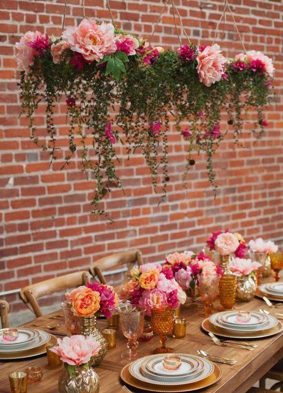 Gorgeous pink wedding reception centerpiece; Featured Photographer: Kim J Martin Photographer