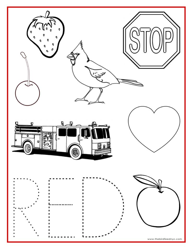 RED Color Activity Sheet Teaching Preschool Preschool