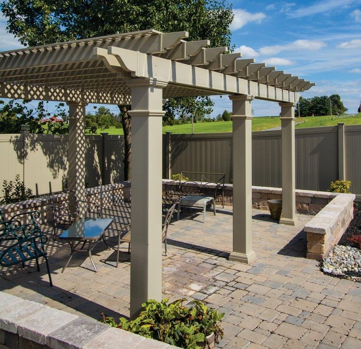 Decorate your outdoor living space with a vinyl pergola...