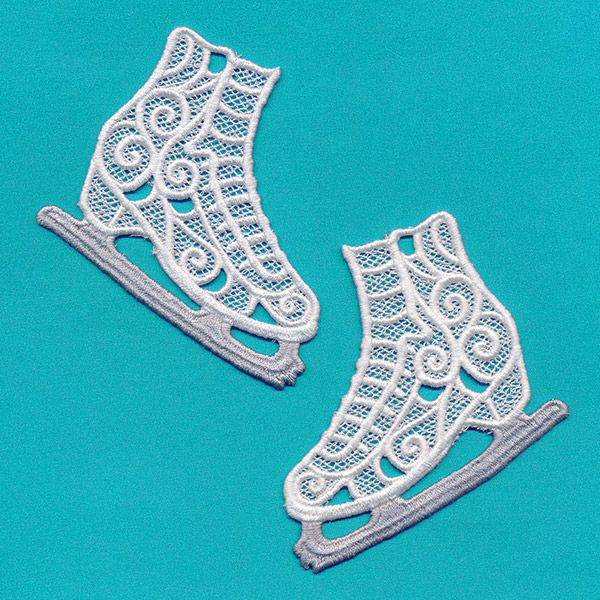 Stitch two skates onto water soluble stabilizer and rinse to reveal freestanding lace. Hang as ornaments or use in gift wrapping.