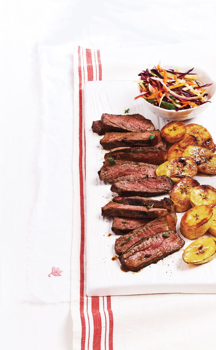 Caribbean Steak With Grilled Plantains and Coleslaw