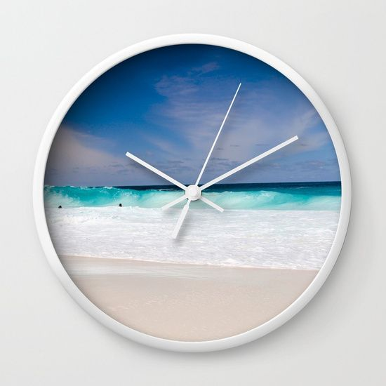 Tropical Turquoise Waves Wall Clock