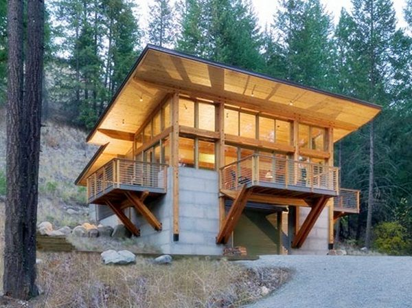 Concrete and wood tower cabin aka bear proof like for Concrete log home plans