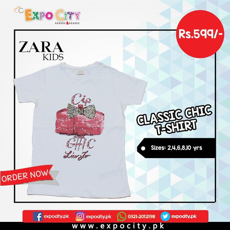 Product: Classic Chic T-shirt  Brand: Zara Kids  Price: Rs. 599  #Children #Girls #Dress #Shirts #Tshirts Tops #Karachi #Lahore #Islamabad #OnlineShopping #ExpoCity #Kids #BabyGirls #CashOnDelivery #Apparel #PartyWear #Pakistan #PakistanShopping #Stylish #Plain #Casual #Colorful #ZaraKids