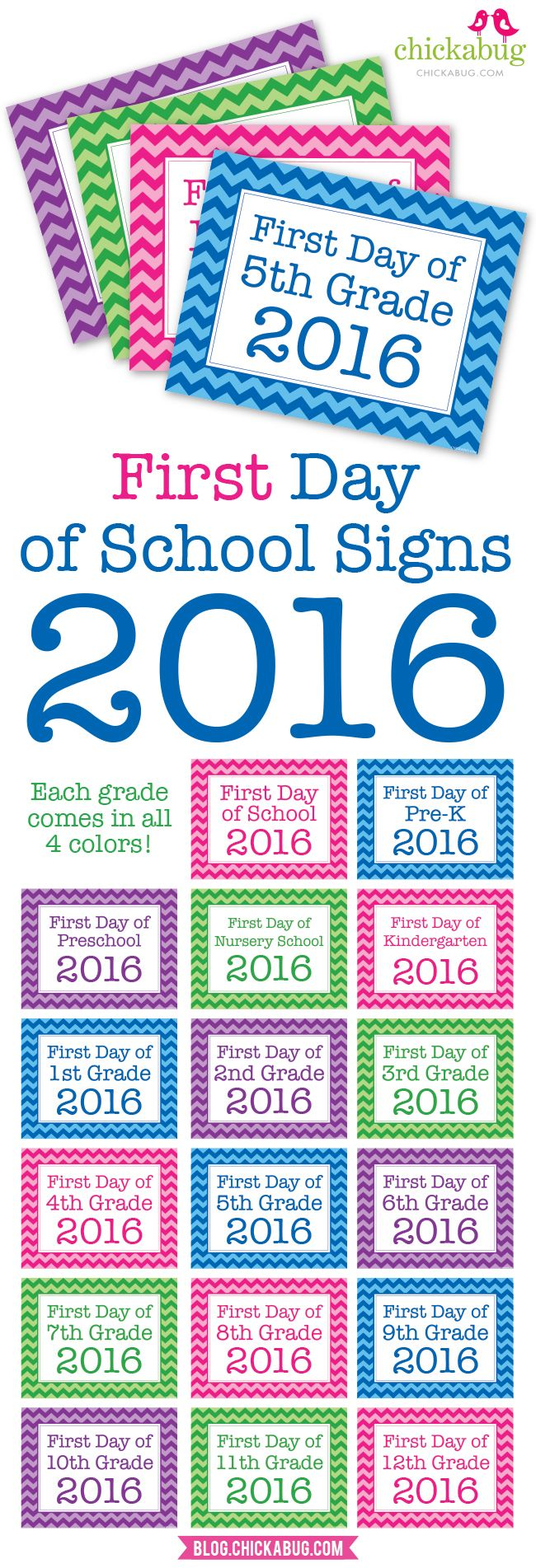 Free printable first day of school photo signs for 2016!