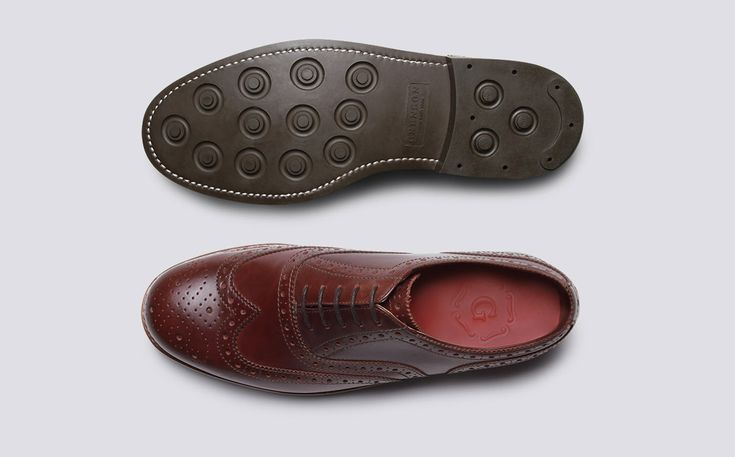 Mens Oxford Brogue in Chestnut Pull Up Leather with a Dainite Sole | Stanley | Grenson Shoes - Top & Bottom View