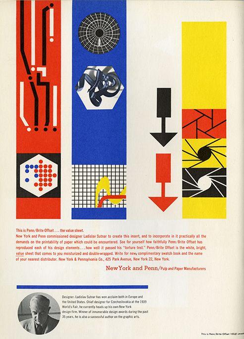 Vintage ad for Penn/Brite offset paper by Ladislav Sutnar
