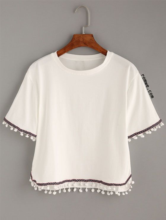 White Embroidered Tape Trimmed T-shirt