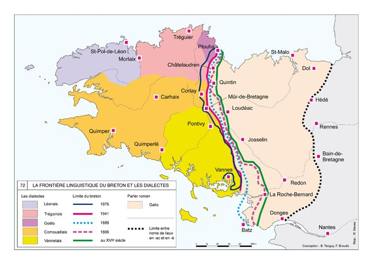 La Frontière linguistique du breton et les dialectes. Carte de synthèse, extraite de l'Atlas d'histoire de Bretagne (Éd. Skol Vreizh). see: http://www.bretania.bzh/EXPLOITATION/Bretania/la-limite-linguistique-entre-le-breton-et-le-gallo.aspx