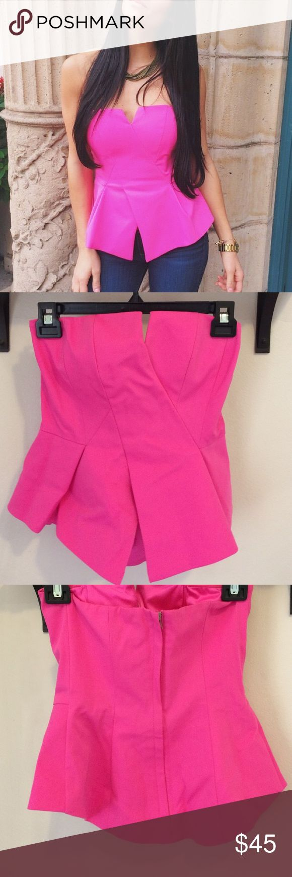 Bardot Hot Pink Peplum Top I wore this ONCE (in the picture) and felt like a brown haired Barbie!! I loved it. Amazing fit, wonderfully made and so cute and fun! Bardot Tops Blouses