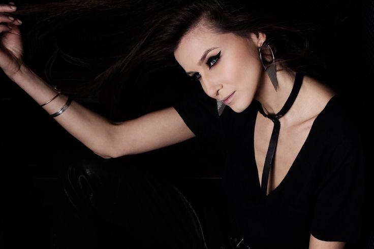 Beautiful top model Ana Maria Bucura wearing our black leather harness