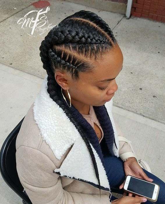 23 Stylish Ways To Wear 2 Feed In Braids Stayglam In 2020 Feed In Braids Hairstyles African Braids Hairstyles Feed In Braid