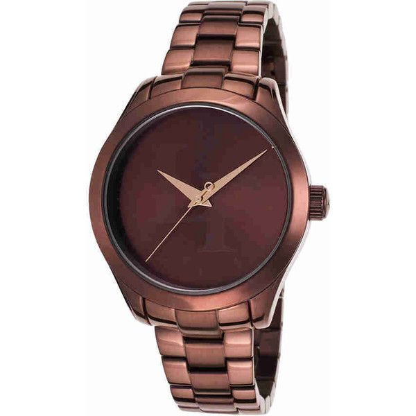 Lucien Piccard Almeria Ladies Watch (397,195 KRW) ❤ liked on Polyvore featuring jewelry, watches, stainless steel watches, analog wrist watch, lucien piccard watches, brown jewelry and polish jewelry