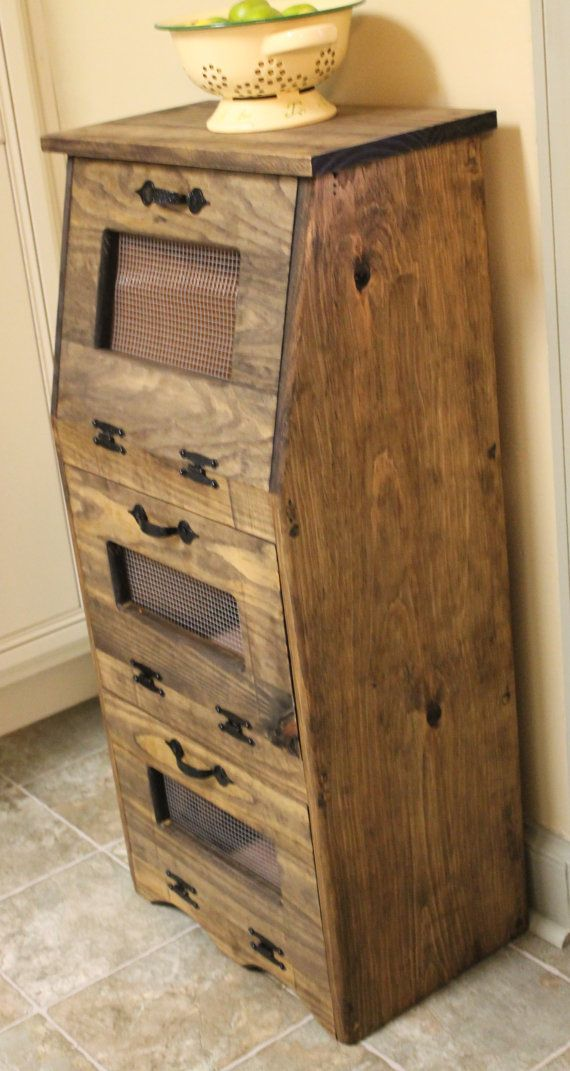 Rustic Vegetable Bin Potato Onion Bread Box Storage Cupboard Primitive Kitchen wooden Shelf Potatoes Farmhouse Country Snacks towels wood
