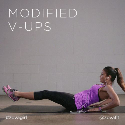 zovafit:  Modified V-Ups are great for strengthening your lower abs. Start in a seated position, place your hands behind you and lift your feet off the ground. In one smooth motion, extend your legs out infront of you and lower your upper body towards the floor. Return to the start position and continue this as many times as you can. If you're feeling the burn through your lower abs & front of your hips, you're doing it right!Find more abs workouts here - get.zova.com