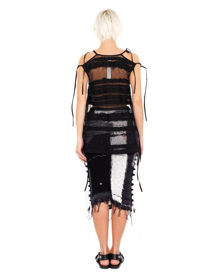 DAMIR DOMA LACE-UP TOP S/S 2016 Black lace-up top round neckline sleeveless transparent look 78% CO 22%PA